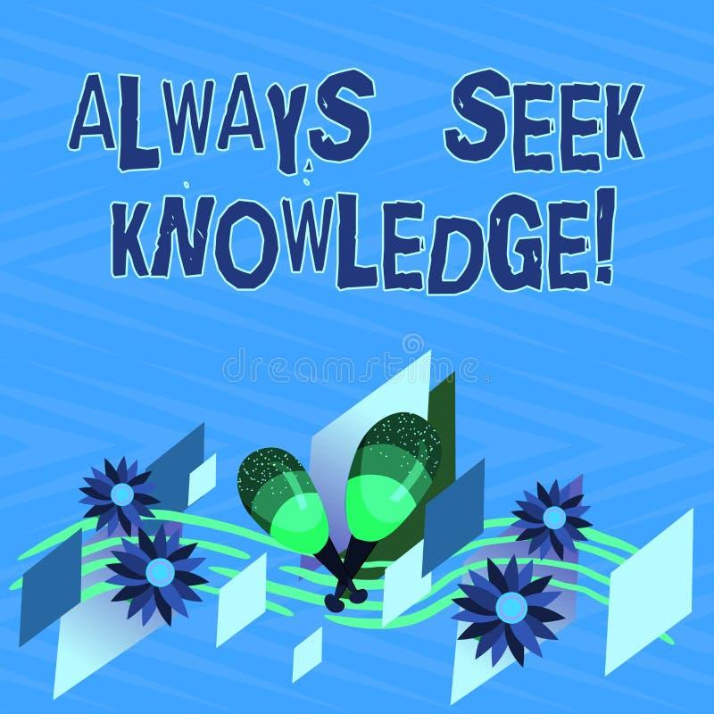 Textzeichen, das immer Suchvorgang-Wissen zeigt Starke Richtung Begriffsfoto Autodidact des ausgesuchten Wissens bunt stock abbildung