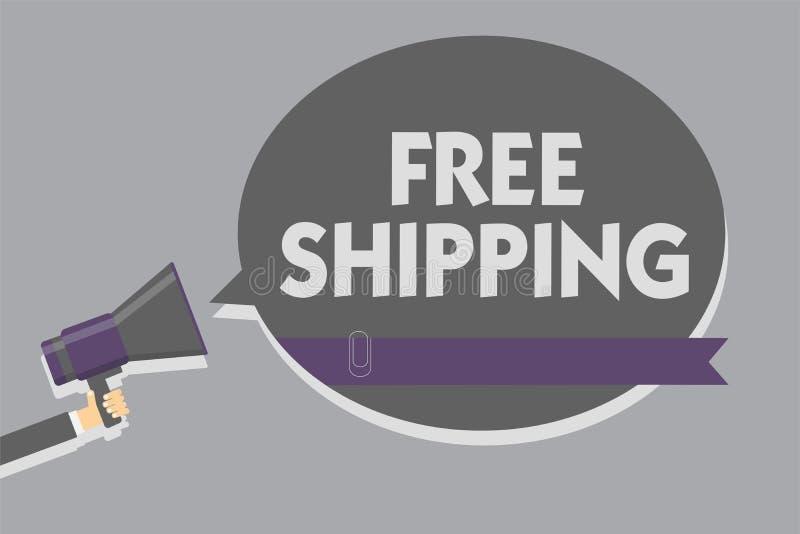 Textzeichen, das kostenlosen Versand zeigt Begriffsfoto Fracht-Fracht-Lieferungs-Ladungs-Nutzlasten-Versand-Transport-Mann, der M stock abbildung