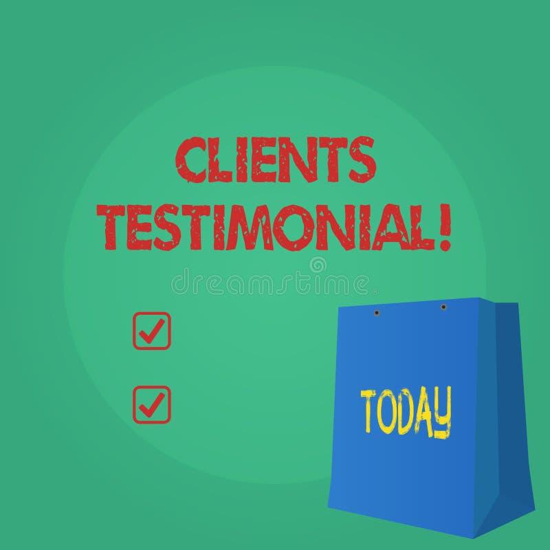 Textzeichen, das Kunden Referenz zeigt Begriffsfoto Kunden-persönliche Erfahrungen wiederholt Meinungs-Feedback stock abbildung