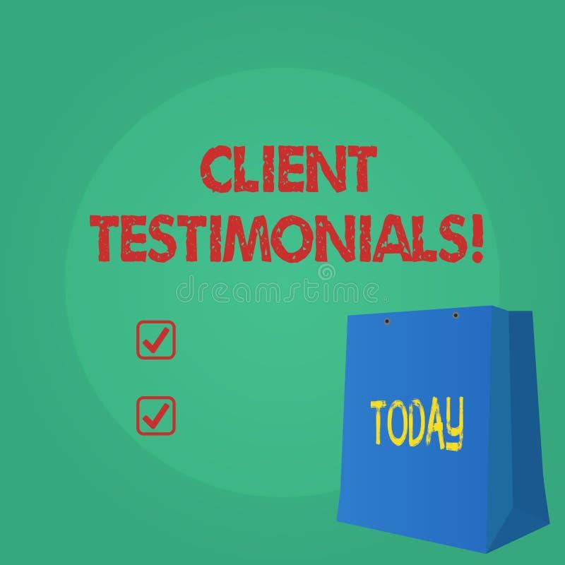 Textzeichen, das Kundenmeinungen zeigt Begriffsfoto Kunden-persönliches Erfahrungs-Bericht-Meinungs-Feedback lizenzfreie abbildung