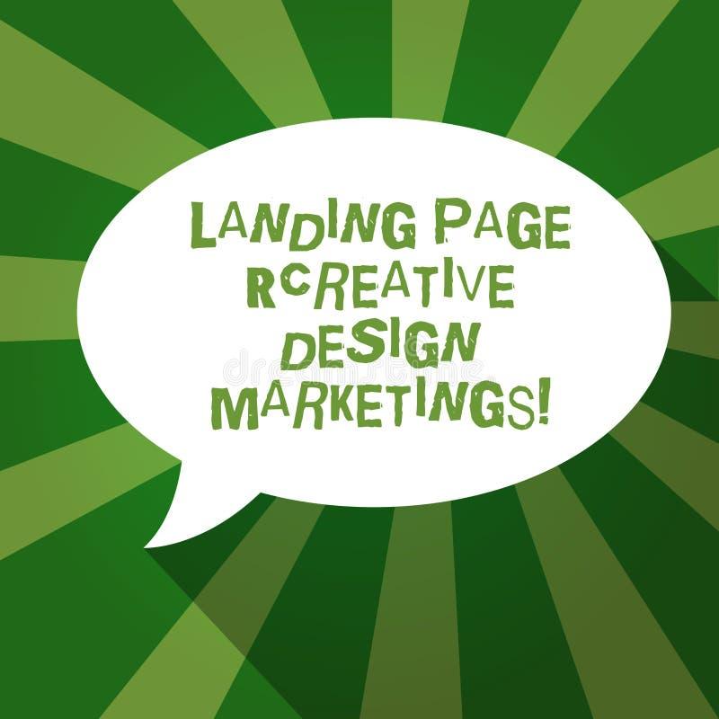 Textzeichen, das Landungsseite kreatives Entwurfs-Marketing zeigt Begriffsfoto homepage, das Social Media annonciert, löschen ova lizenzfreie abbildung