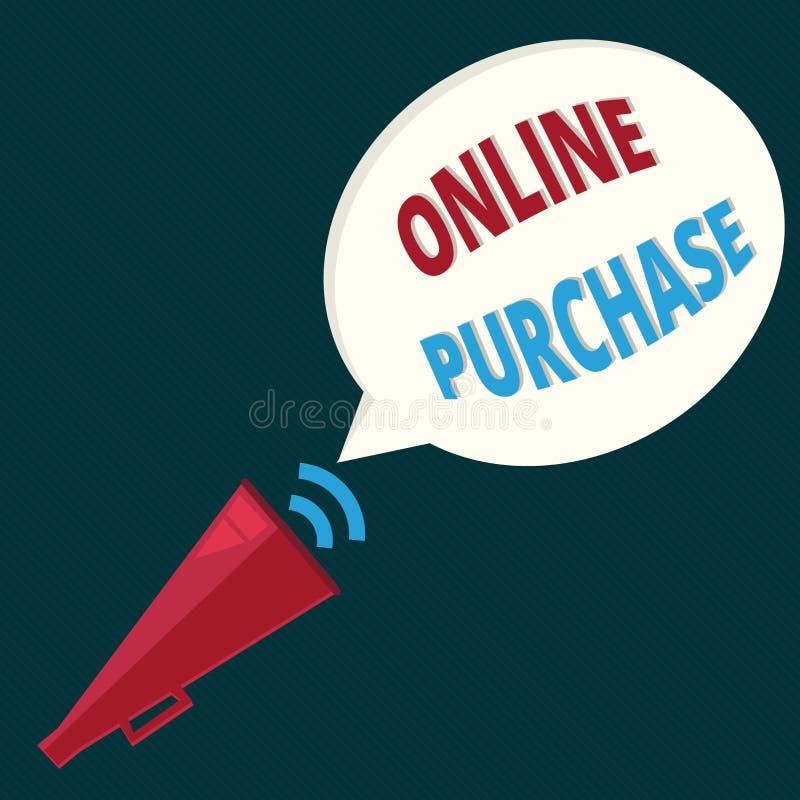Textzeichen, das on-line-Kauf zeigt Begriffsfoto kauft Waren des elektronischen Geschäftsverkehrs über vom Internet stock abbildung