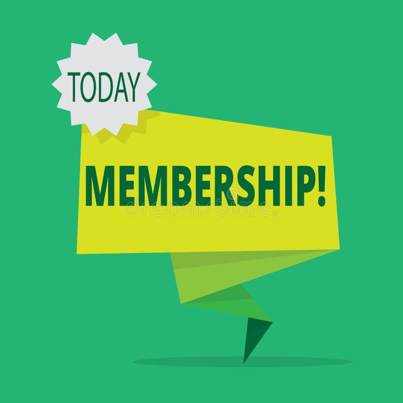 Textzeichen, das Mitgliedschaft zeigt Das Begriffsfoto, das Mitgliedsteil einer Gruppe oder Team ist, schließen sich einer Organi vektor abbildung