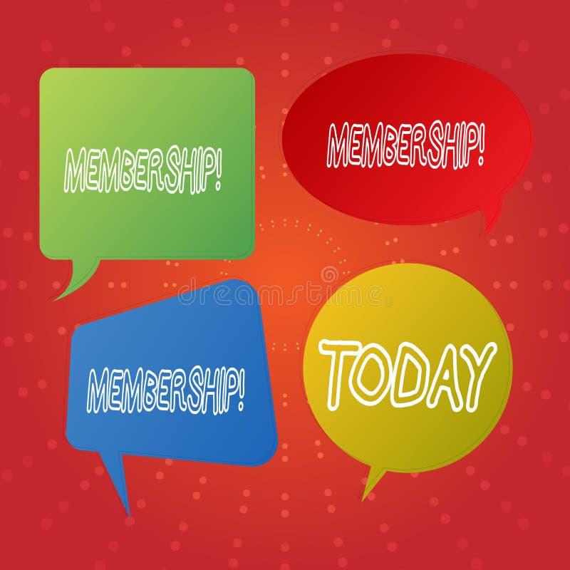 Textzeichen, das Mitgliedschaft zeigt Das Begriffsfoto, das Mitgliedsteil einer Gruppe oder Team ist, schließen sich Organisation lizenzfreie abbildung