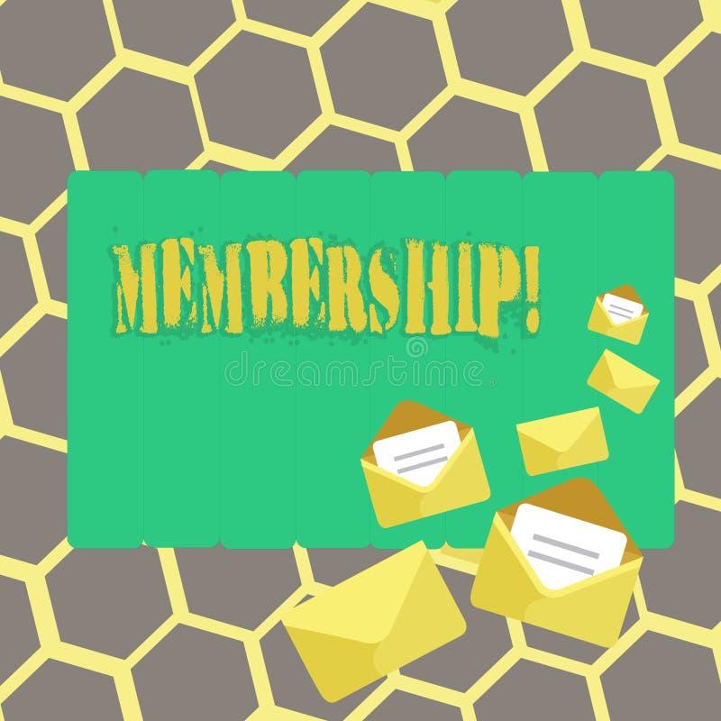 Textzeichen, das Mitgliedschaft zeigt Das Begriffsfoto, das Mitgliedsteil einer Gruppe oder Team ist, schließen sich Organisation stock abbildung