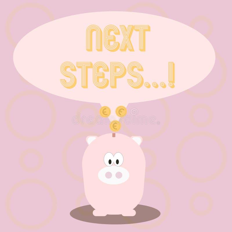 Textzeichen, das nächste Schritte zeigt Begriffsfoto nach Bewegungs-Strategie-Plan geben Richtungs-Richtlinie vektor abbildung