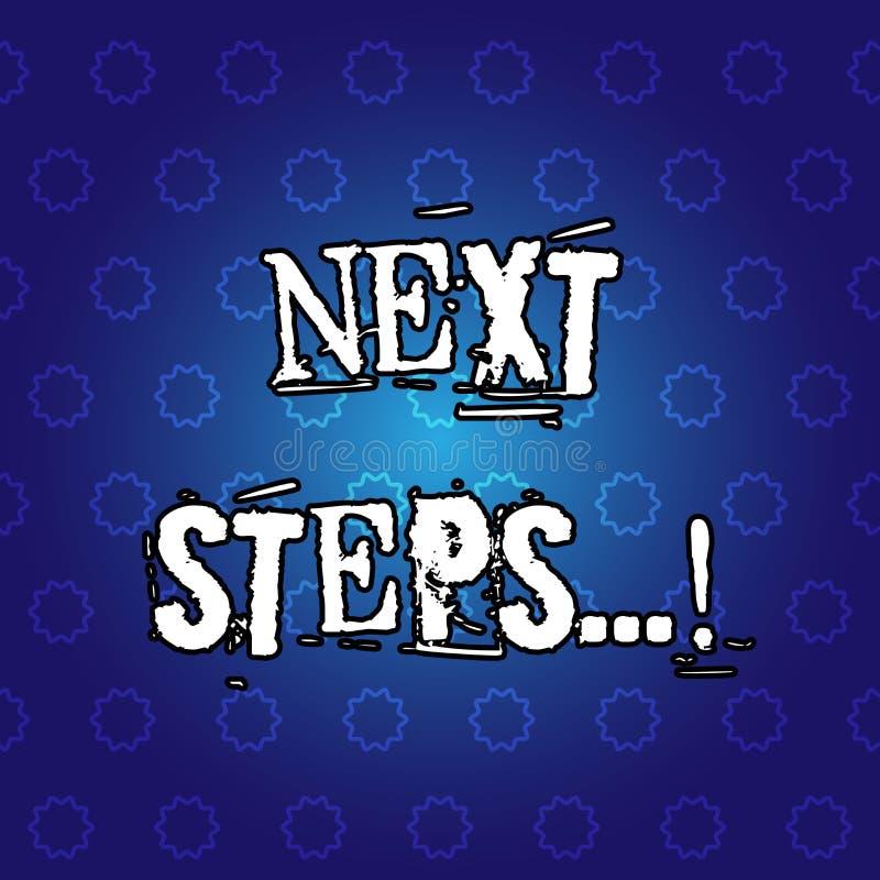 Textzeichen, das nächste Schritte zeigt Begriffsfoto nach Bewegungs-Strategie-Plan geben Richtungs-Richtlinie stock abbildung