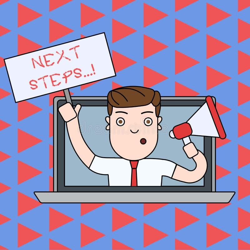Textzeichen, das n?chste Schritte zeigt Begriffsfoto etwas, das Sie tun, nachdem Sie beendet haben, erstes ein zu tun stock abbildung