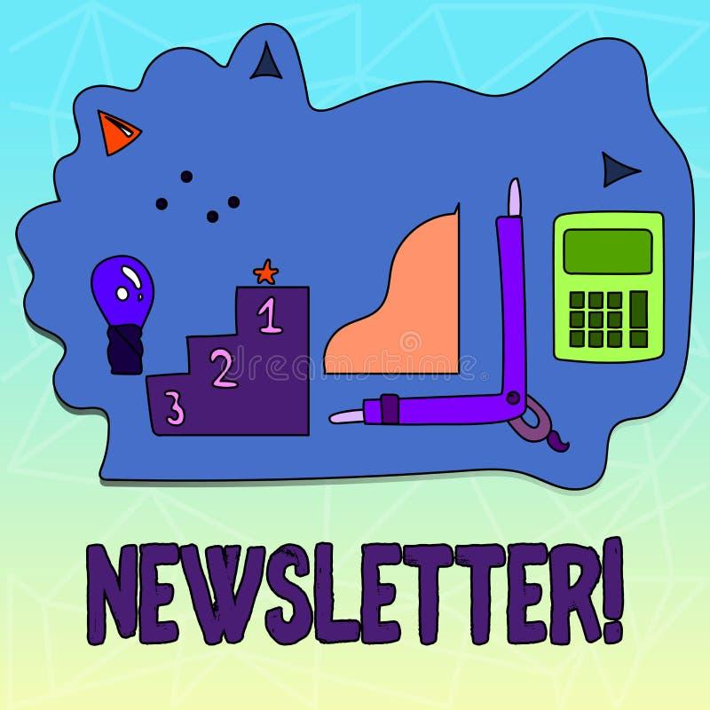 Textzeichen, das Newsletter zeigt Begriffsfoto Bulletin regelmäßig geschickt den Mitgliedern der Gruppe vektor abbildung