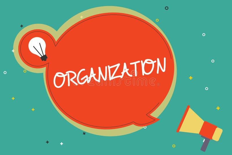Textzeichen, das Organisation zeigt Begriffsfoto organisierte Gruppe des Darstellens mit einem bestimmten Zweck Geschäft vektor abbildung