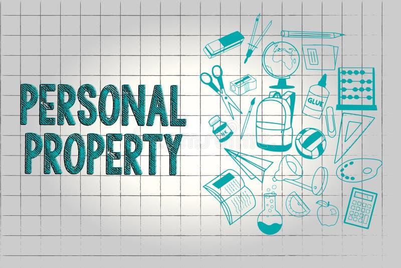 Textzeichen, das persönliches Eigentum zeigt Begriffsfoto Sachen, denen Sie sie mit Ihnen nehmen beweglich besitzen und können lizenzfreie abbildung