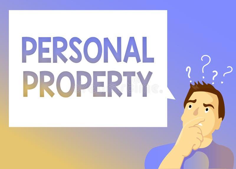 Textzeichen, das persönliches Eigentum zeigt Begriffsfoto Sachen, denen Sie sie mit Ihnen nehmen beweglich besitzen und können vektor abbildung