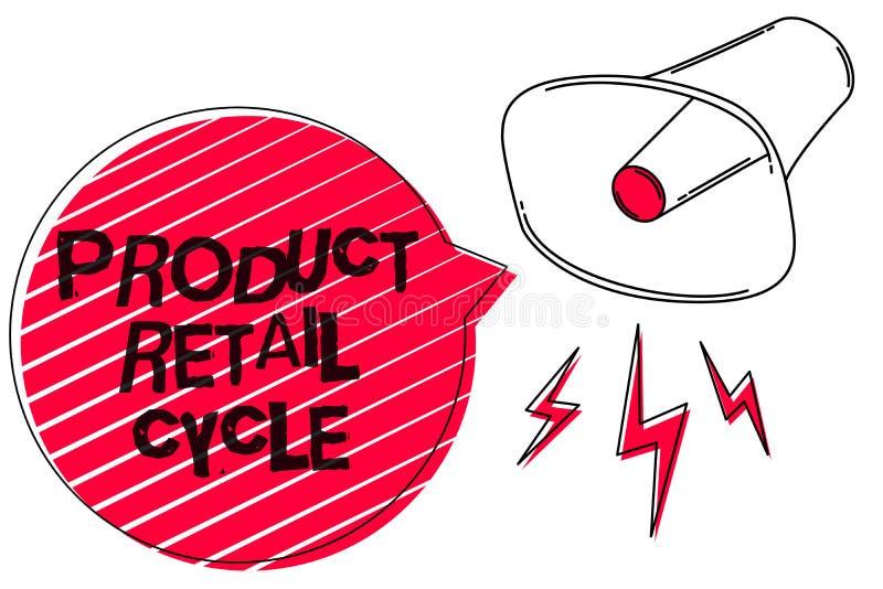 Textzeichen, das Produkt Kleinzyklus zeigt Begriffsfoto als Marke kommt durch Reihenfolge des lauten Tones der Stadien Skizzen-Gr stock abbildung