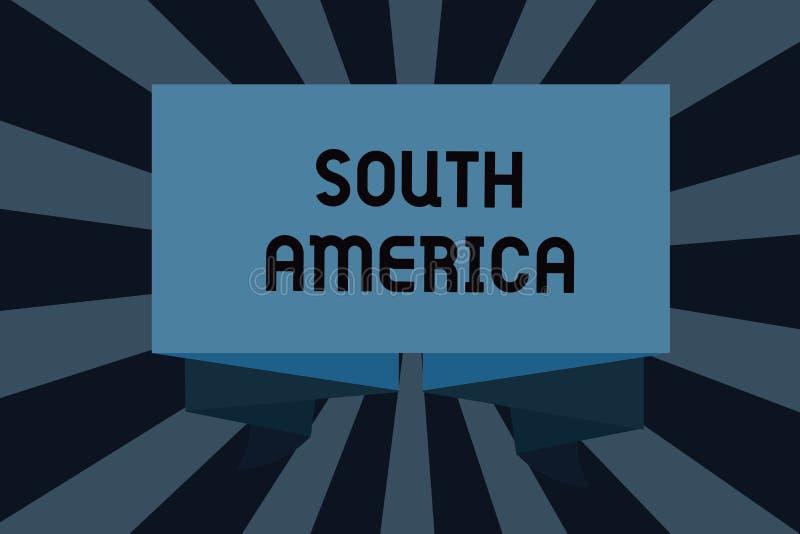 Textzeichen, das Südamerika zeigt Begriffsfoto Kontinent auf die Latinos der westlichen Hemisphäre bekannt für Karnevale lizenzfreie abbildung