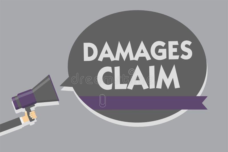 Textzeichen, das Schadenersatzforderung zeigt Begriffsfoto Nachfrage-Ausgleich streiten den Versicherungs-Datei-Klagen-Mann, der  lizenzfreie abbildung