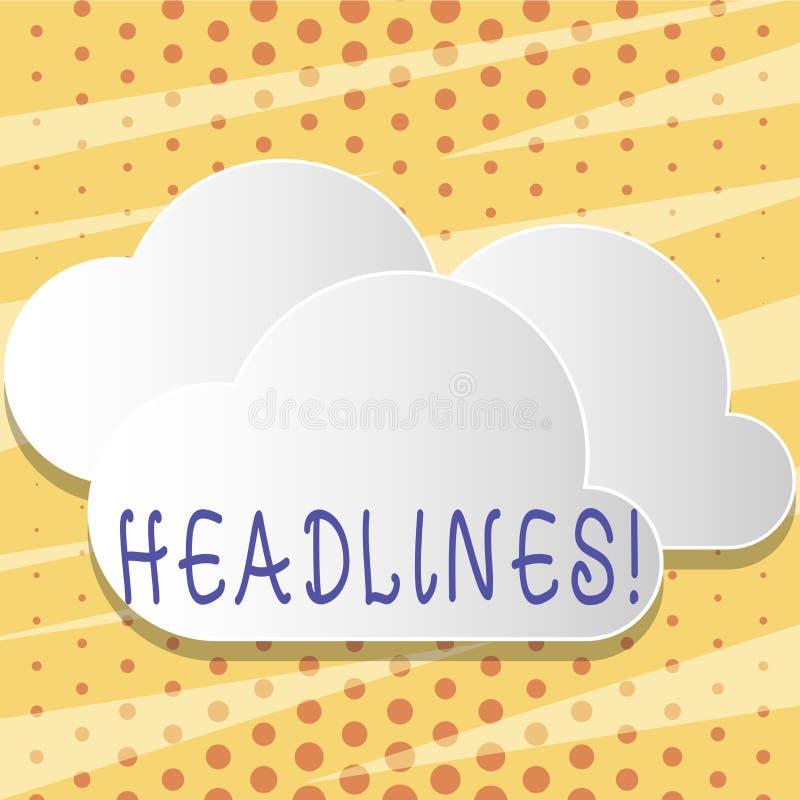 Textzeichen, das Schlagzeilen zeigt Begriffsfoto Überschrift an der Spitze eines Artikels in den weißen flaumigen Wolken Zeitung  stock abbildung