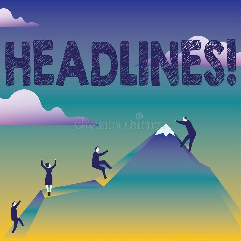 Textzeichen, das Schlagzeilen zeigt Begriffsfoto Überschrift an der Spitze eines Artikels Zeitung in den Geschäftsleuten Klettern lizenzfreie abbildung