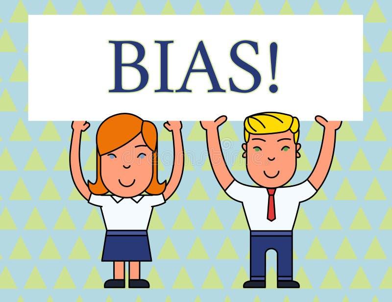 Textzeichen, das schr?g darstellt Begriffsfotoneigung oder -vorurteil für oder gegen eine demonstrierende lächelnde Gruppe zwei stock abbildung