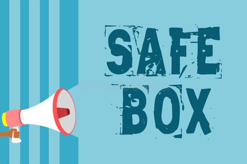 Textzeichen, das sicheren Kasten zeigt Begriffskleine Struktur des fotos A, wo Sie wichtiges oder wertvolles Sachen Megaphon loud lizenzfreie abbildung