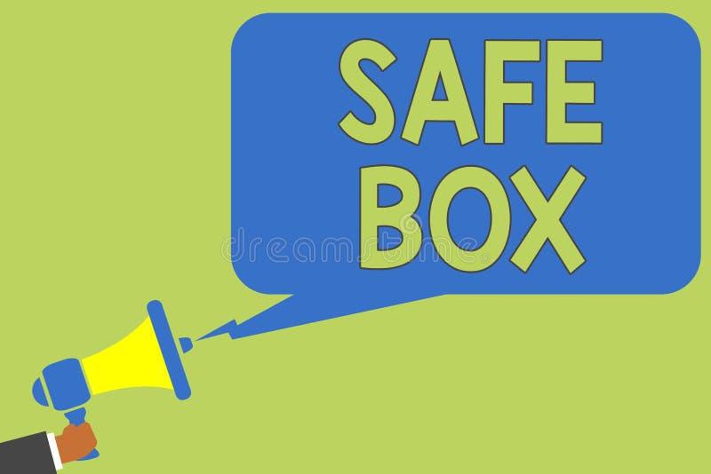 Textzeichen, das sicheren Kasten zeigt Die Begriffskleine Struktur des fotos A, in der Sie wichtig halten können oder die wertvol lizenzfreie abbildung