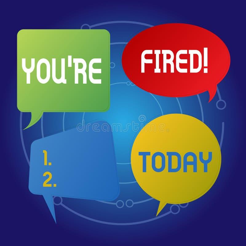 Textzeichen, das Sie bezüglich abgefeuert zeigt Das Begriffsfoto, das durch Chef benutzt wird, zeigen Angestellten an, dass er vo vektor abbildung