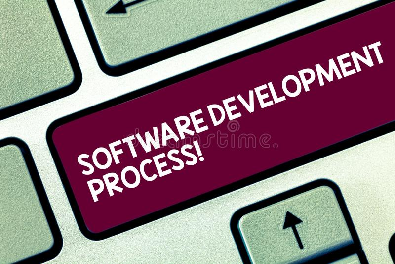 Textzeichen, das Software-Entwicklungsprozess zeigt Begriffsfoto Prozess des Entwickelns einer Software-Produkt Taste lizenzfreie stockfotos