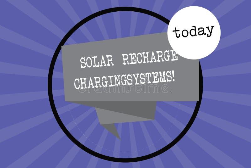 Textzeichen, das Solarnachladen-Aufladungs-Systeme zeigt Neue innovative alternative Energiezufuhren des Begriffsfotos falteten 3 stock abbildung