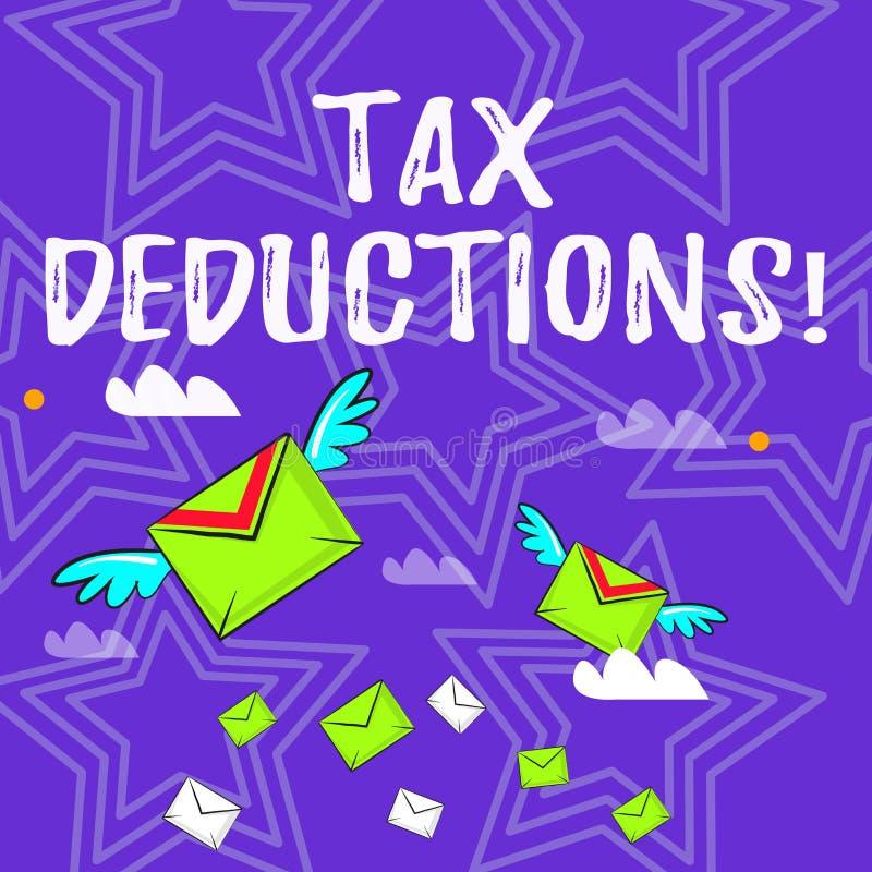 Textzeichen, das Steuerabzüge zeigt Begriffsfotoreduzierungseinkommen, das ist, von den Ausgaben besteuert zu werden bunte viele stock abbildung