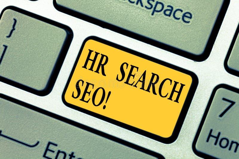 Textzeichen, das Stunden-Suchceo zeigt Begriffsfoto Huanalysis-Betriebsmittel, die für neuen Generaldirektor Keyboard suchen stockbild
