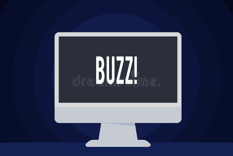 Textzeichen, das Summen zeigt Begriffsfoto Summen-Rauschen-Brummen sprudeln Ring Sibilation Whir Alarm Beep-Glockenspiel lizenzfreie abbildung