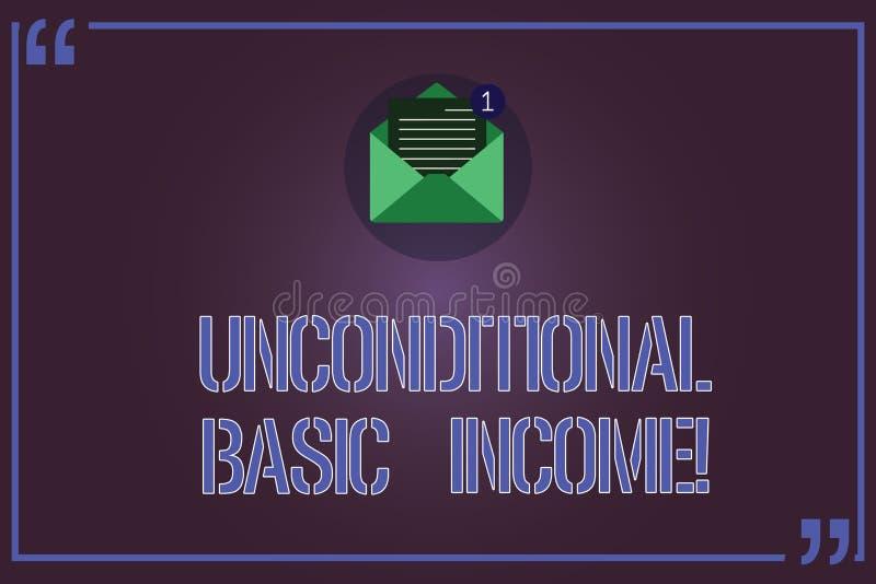 Textzeichen, das unbedingtes Grundeinkommen zeigt Begriffsfoto zahlte Einkommen ohne eine Anforderung, offenen Umschlag zu bearbe stock abbildung