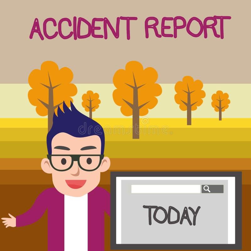 Textzeichen, das Unfallbericht zeigt Begriffsform des fotos A, die ergänzte Rekordsonderkommandos eines ungewöhnlichen Ereignis M lizenzfreie abbildung