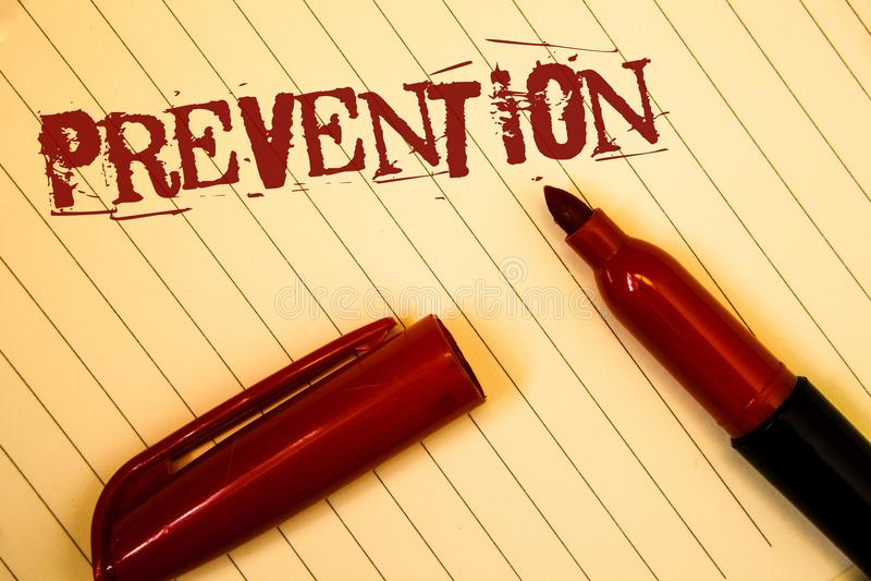Textzeichen, das Verhinderung zeigt Begriffsfotos, die etwas von Vorkommnisgesundheitswesen ProtectionIdeas-Mitteilungen geschaff stockfoto