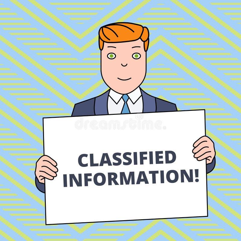 Textzeichen, das Verschlusssache zeigt Begriffsstreng geheim nicht autorisierte Freigaben-lächelnder Mann foto sensibler Daten stock abbildung