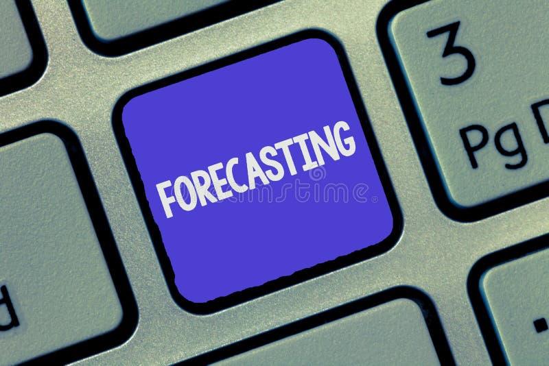Textzeichen, das Voraussage zeigt Begriffsfoto sagen voraus, dass Schätzung ein zukünftiges Ereignis oder eine Tendenz auf anwese lizenzfreie stockbilder