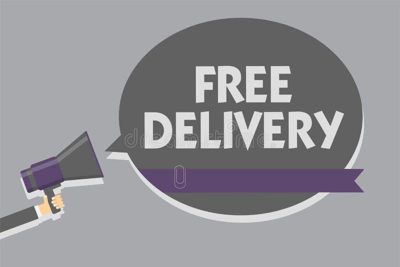 Textzeichen, das Vorleistung zeigt Begriffsfoto Versandverpackungs-Fracht-Kurier-Distribution Center Fragile-Mann, der Megaphon h lizenzfreie abbildung