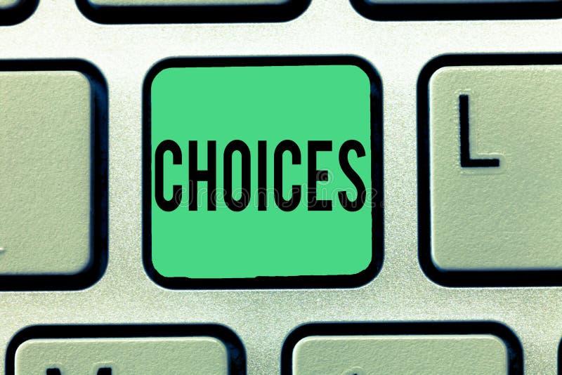 Textzeichen, das Wahlen zeigt Begriffsfoto Wahlen, die zwischen zwei wählen oder mehr Möglichkeiten Entscheidungen stockfotografie