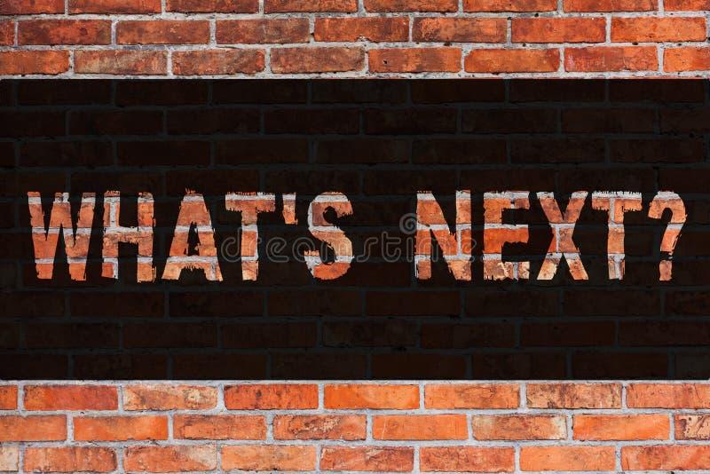 Textzeichen, das welches S Nextquestion zeigt Begriffsfoto nach Schritte Anleitung zum Ziegelstein, zu bewegen oder Arbeits fortz lizenzfreie abbildung