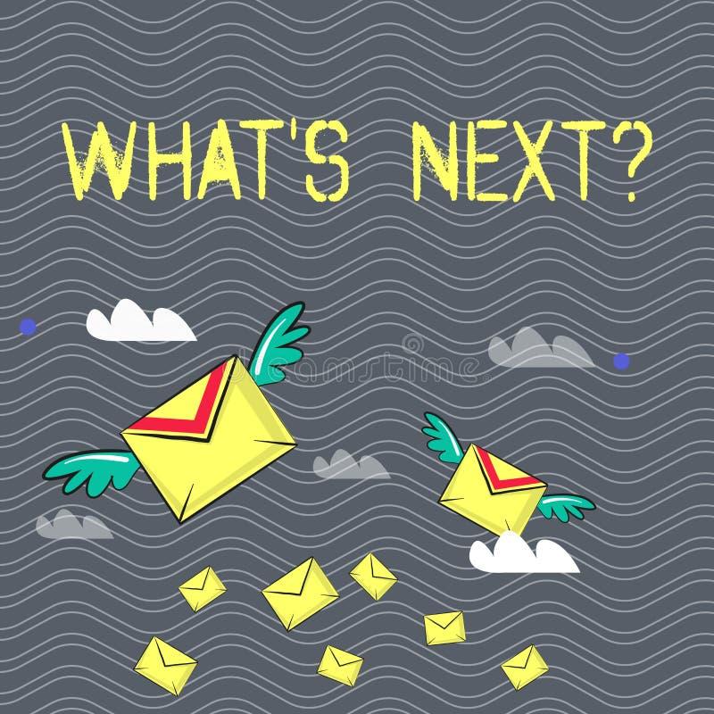 Textzeichen, das welches S Nextquestion zeigt Folgende Anleitung Schritte des Begriffsfotos zum sich zu bewegen oder zu arbeiten  stock abbildung