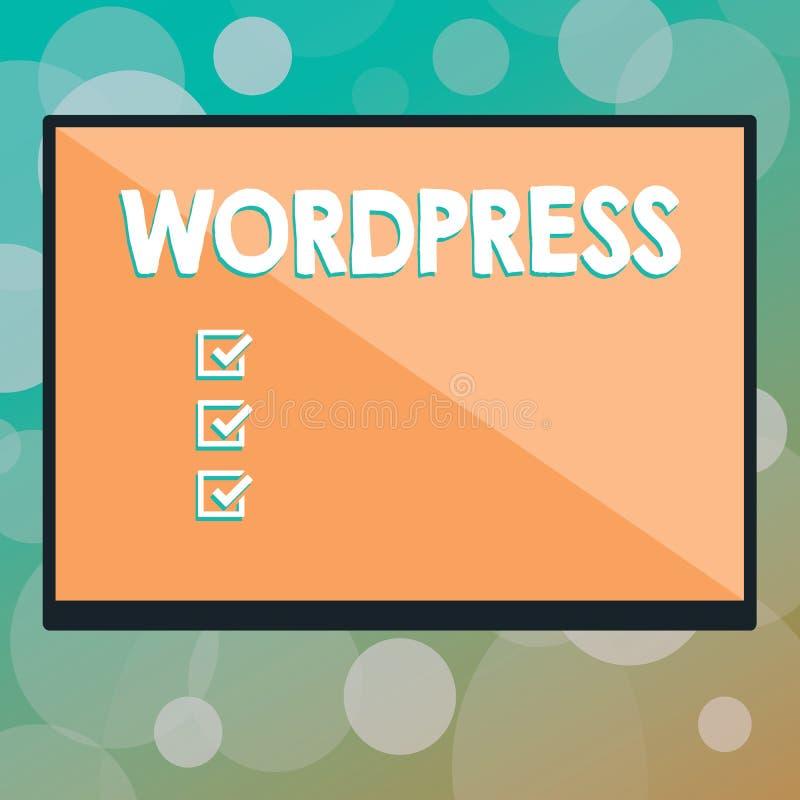 Textzeichen, das Wordpress zeigt Verlags- Software Begriffsdes fotos freies Quell, die kann, installierte das rechteckige web ser stock abbildung