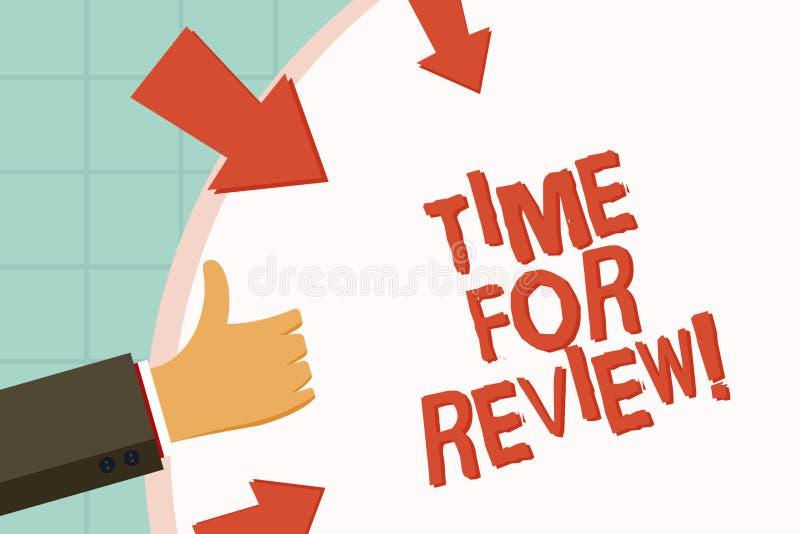 Textzeichen, das Zeit für Bericht zeigt Das Begriffsfoto, das Feedback-Bewertungs-Ratenjobtest geben oder das Produkt qualifizier stock abbildung