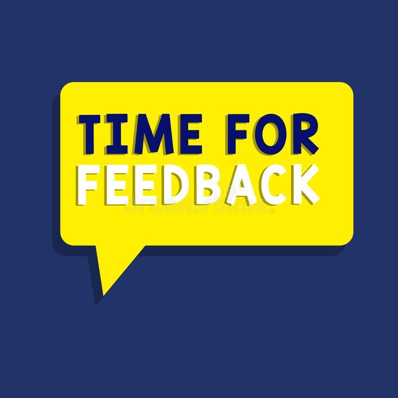 Textzeichen, das Zeit für Feedback zeigt Begriffsfoto BedarfsAntwort oder geben Kritiker auf etwas Bewertung stock abbildung