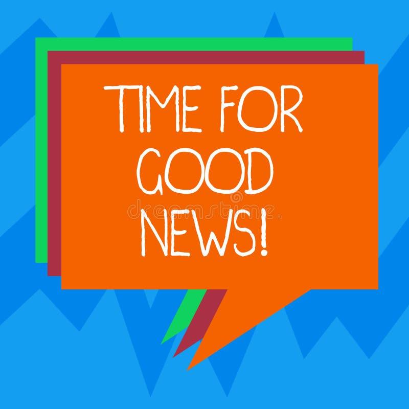 Textzeichen, das Zeit für gute Nachrichten zeigt Begriffsfoto Kommunikation glücklichen speziellen Stapels Zeit der großen Inform lizenzfreie abbildung