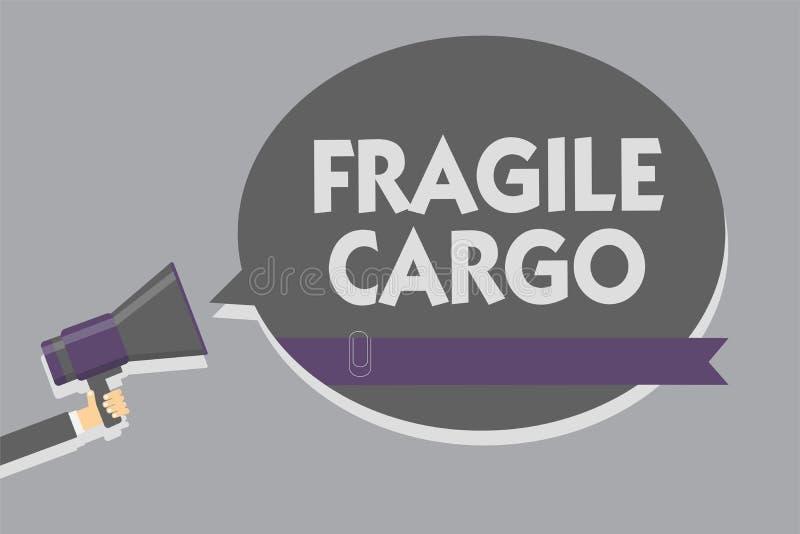 Textzeichen, das zerbrechliche Fracht zeigt Begriffsfoto zerbrechliche Griff-sorgfältig Luftpolsterfolie-Glasgefährliche güter be stock abbildung