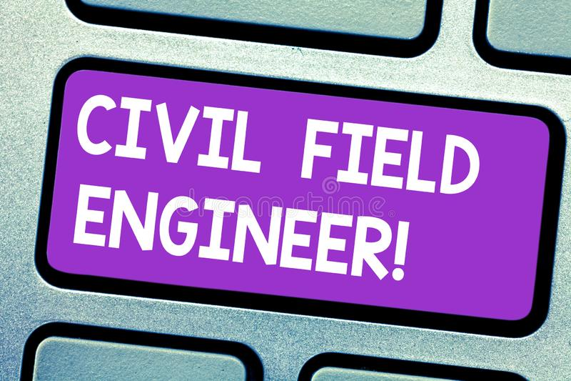 Textzeichen, das Zivilkundendiensttechniker zeigt Begriffsfoto beaufsichtigen Bau und Aufrechterhaltung von Gebäudestrukturen Tas lizenzfreie stockfotografie