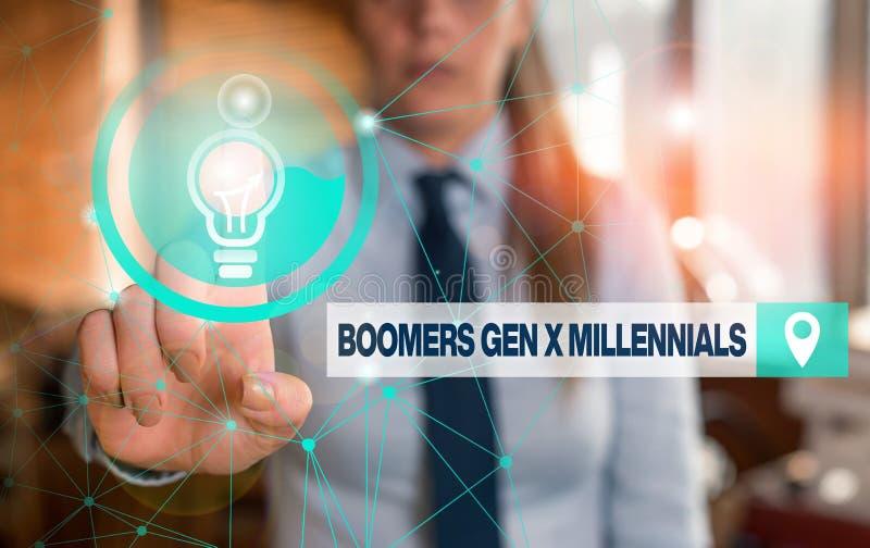 Textzeichen mit Boomer Gen X Millennials Konzeptbild im Allgemeinen als etwa dreißig Jahre Weibliche lizenzfreie stockbilder