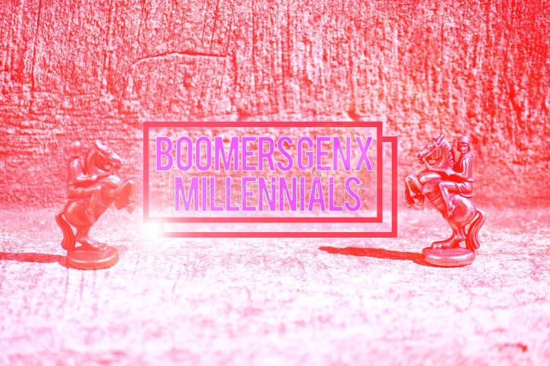 Textzeichen mit Boomer Gen X Millennials Konzeptbild im Allgemeinen als etwa dreißig Jahre Zwei Bronze stockfotografie