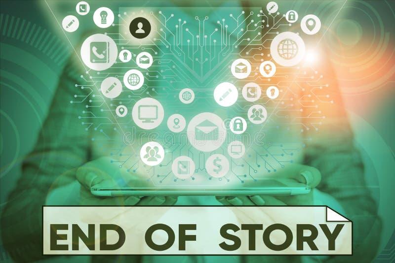 Textzeichen mit Ende der Story Conceptual Foto betont, dass nichts hinzuzufügen Literatur Schreiben Journalismus stockfoto