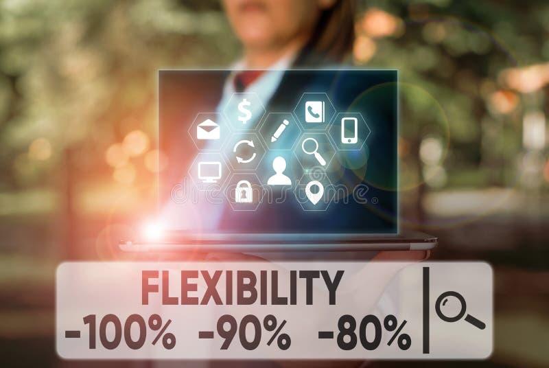 Textzeichen mit Flexibilität 100 % 90 % 80 % Concept-Foto Wie flexibel Sie sind Malabilität lizenzfreies stockbild