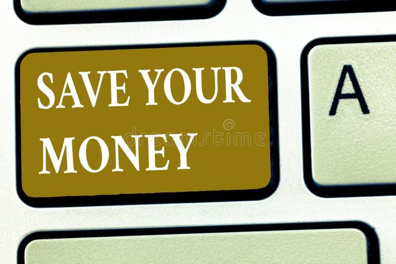 Textzeichen-Vertretung Abwehr Ihr Geld Begriffsfoto halten Ihre Spareinlagen in der Bank, oder der Vorrat, zum sie zu schützen ve stockfoto
